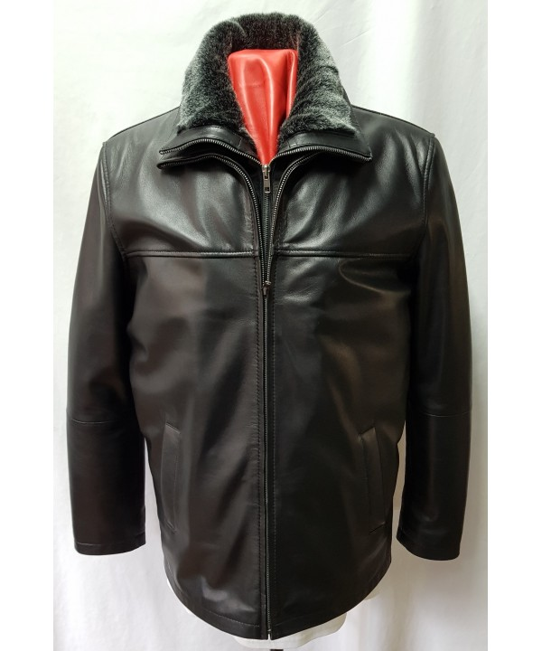 Men's Black Leather ¾