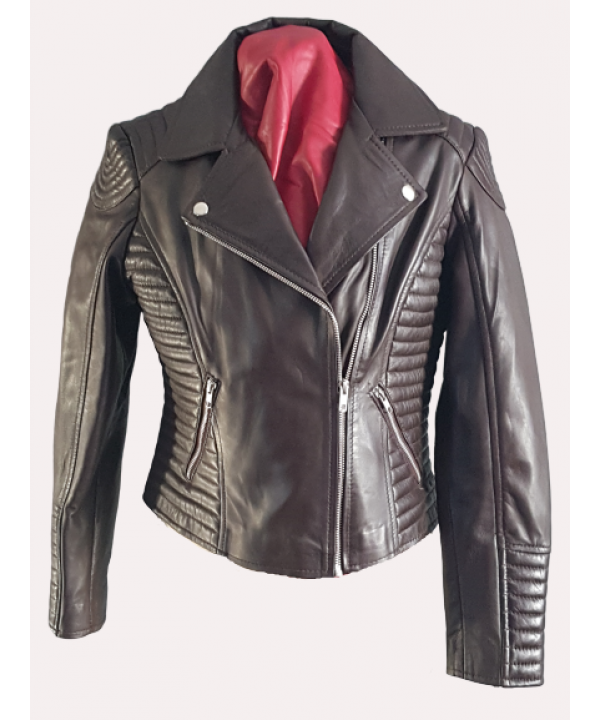 LEATHER LADIES BIKER JACKET SOFT LAMB SKIN IN BROW...