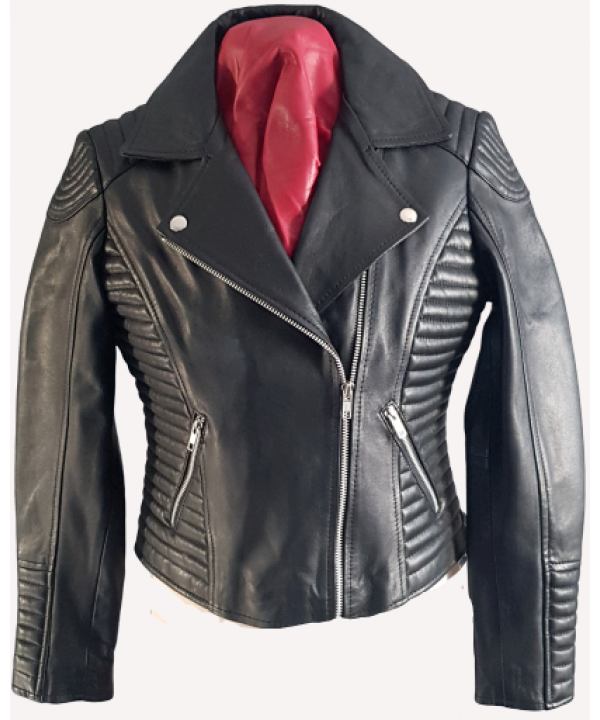 LEATHER LADIES BIKER JACKET SOFT LAMB SKIN IN BLAC...