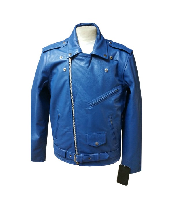 Mens Brando Style Motor Bike Real Leather Jacket