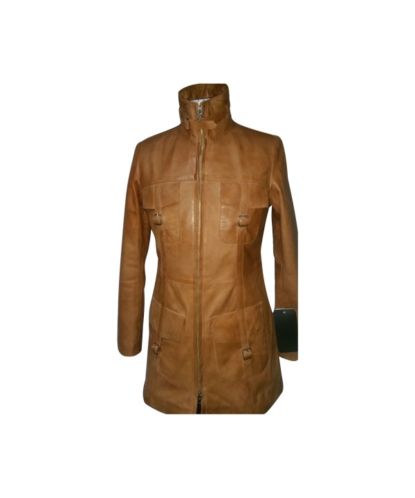 Soft Tan Knee Length Jacket