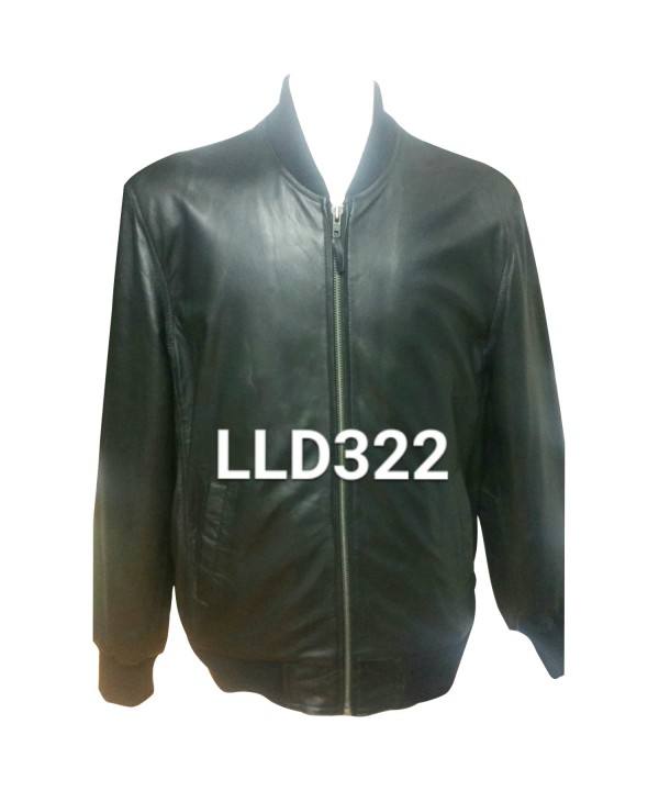 Mens Classic Leather Bomber Jacket