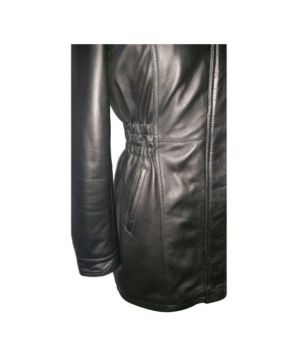 3/4 Ladies Real Leather Parka Coat
