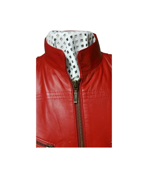 Ladies Red Zipped Biker Style 100 Real Leather Jacket