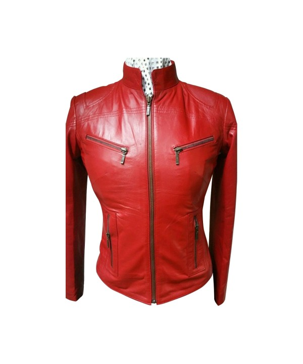 Ladies Red Zipped Biker Style 100 Real Leather Jac...