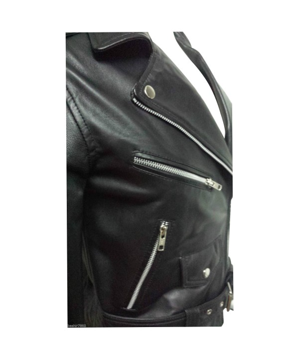 Ladies Black Zipped Biker Style 100 Real Leather Jacket