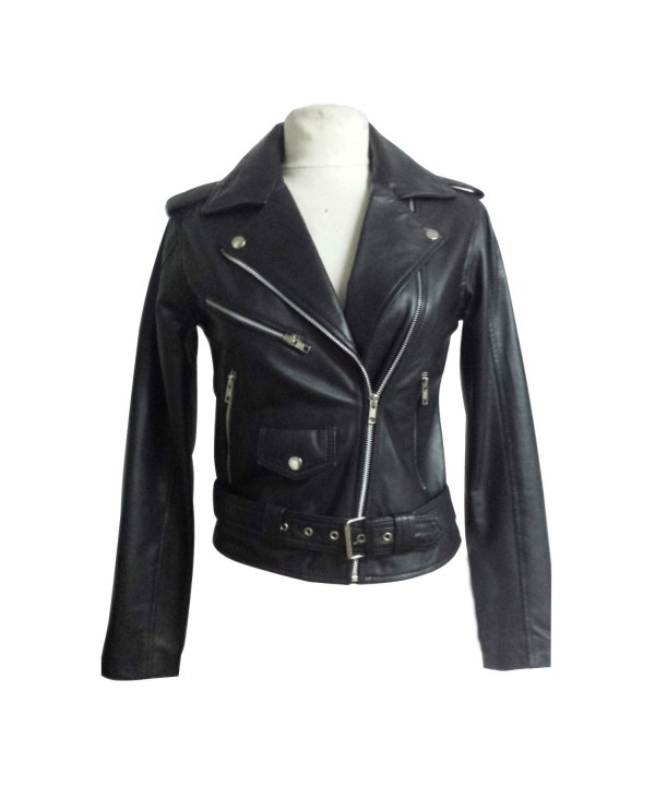 Ladies Black Zipped Biker Style 100 Real Leather J...